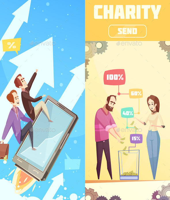 Two Flat Vertical Banners on Crowdfunding Theme - Concepts Business