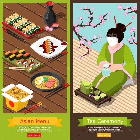 Isometric Sushi Bar Banners - Food Objects