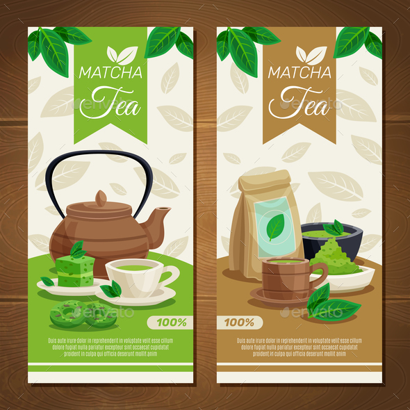 GraphicRiver Green Matcha Tea Vertical Banners 20685713