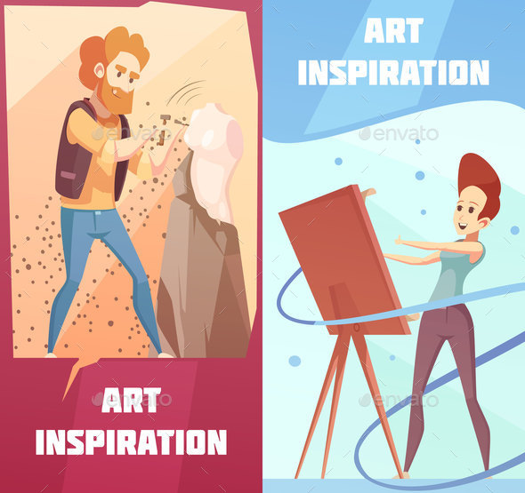 Art Inspiration Cartoon Banners Set - People Characters