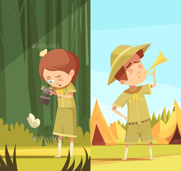 GraphicRiver Scouts Activities Cartoon Banners Set 20685725