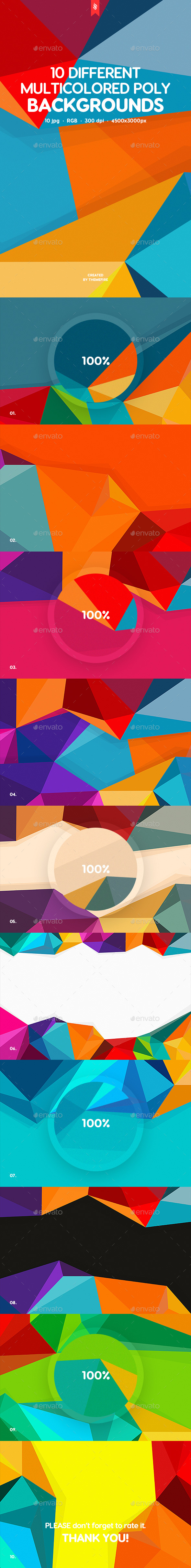 10 Different Multicolored Polygon Backgrounds - Abstract Backgrounds