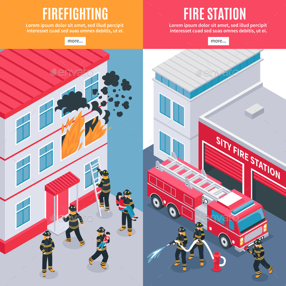 GraphicRiver Isometric Firefighter Banners 20685739