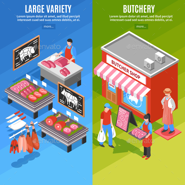 GraphicRiver Meat Shop Isometric Banners 20685768