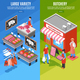 Meat Shop Isometric Banners