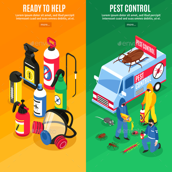 Pest Control Isometric Vertical Banners - Services Commercial / Shopping