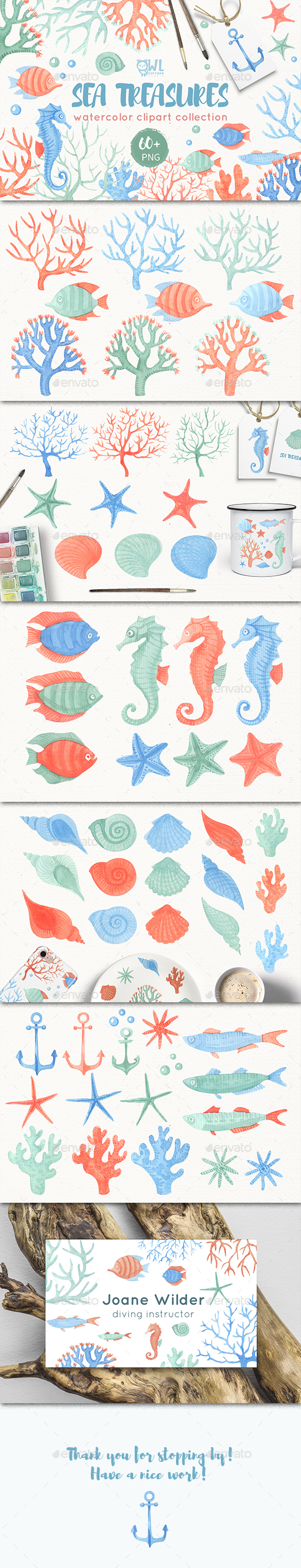 Sea Inhabitants Clipart Collection - Graphics