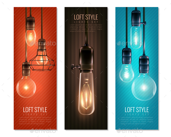 Light Bulbs Vintage Style Vertical Banners - Miscellaneous Vectors