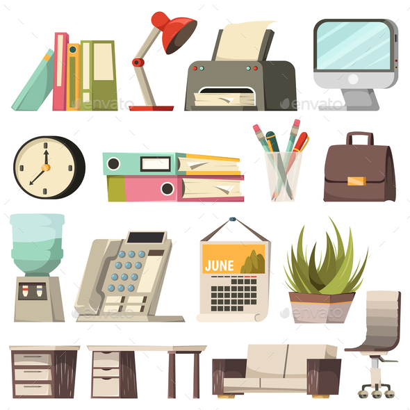 Office Orthogonal Icon Set - Miscellaneous Vectors