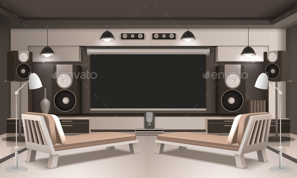 GraphicRiver Modern Home Cinema Interior 3D Design 20685892