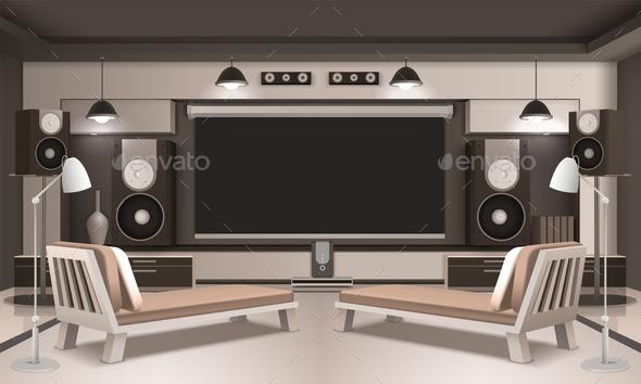 Modern Home Cinema Interior 3D Design - Miscellaneous Vectors