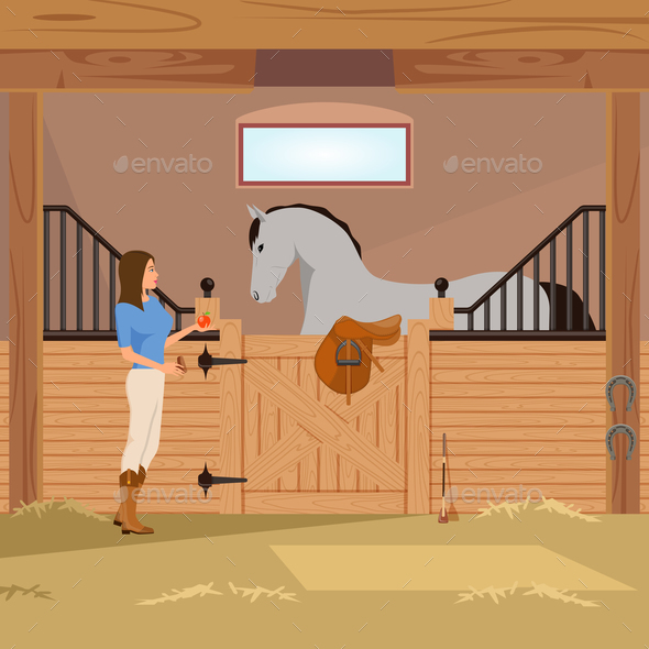 GraphicRiver Trotter in Stall Flat Composition 20685896