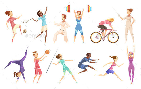 GraphicRiver Female Athletes Doodle Collection 20685899