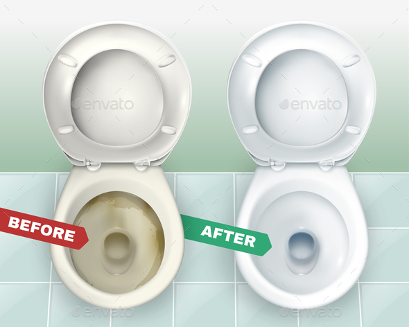 Dirty and Clean Toilets - Miscellaneous Vectors