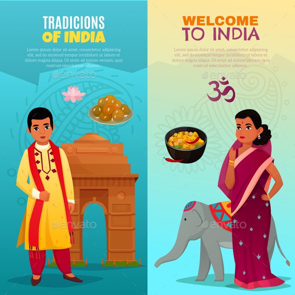 India Vertical Banners Set - People Characters