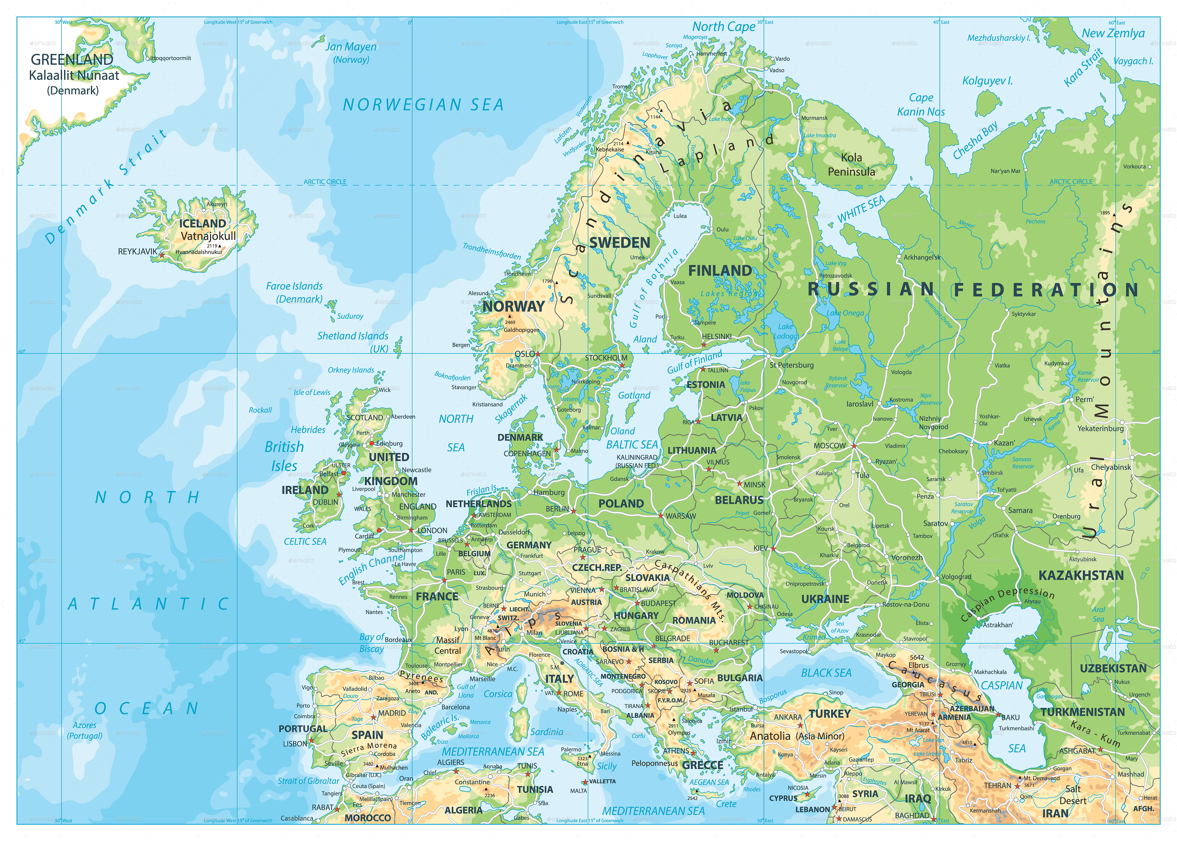 Europe Physical Map By Cartarium GraphicRiver - Austria physical map