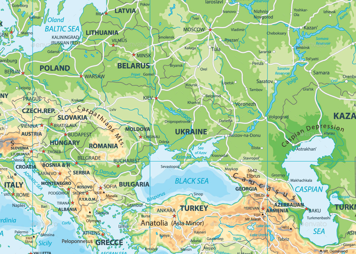 Europe Physical Map By Cartarium GraphicRiver - Lithuania physical map