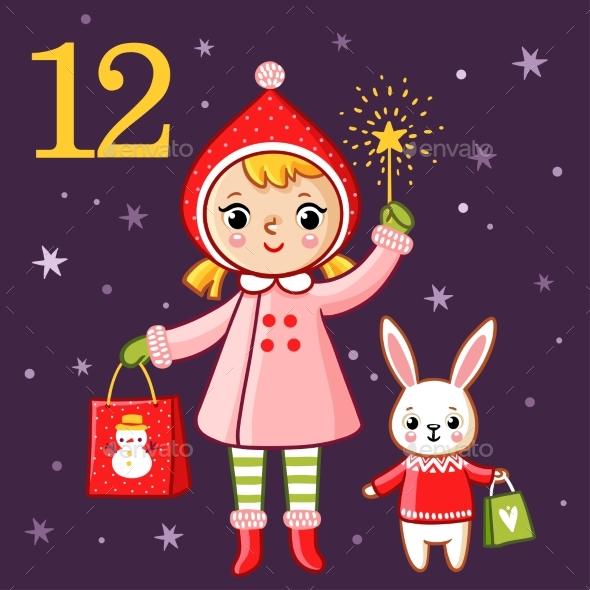 Girl and Bunny Holding Presents - Christmas Seasons/Holidays