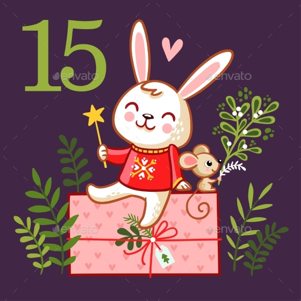 Smiling Rabbit Sits on a Box with a Gift - Christmas Seasons/Holidays