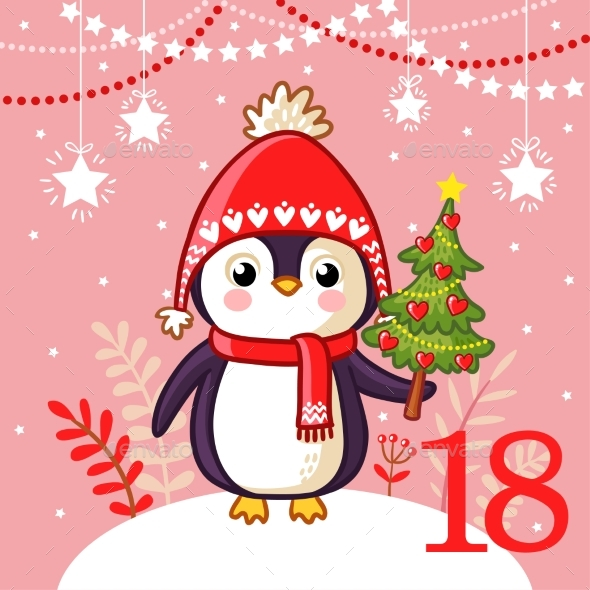 Penguin with Christmas Tree - Christmas Seasons/Holidays