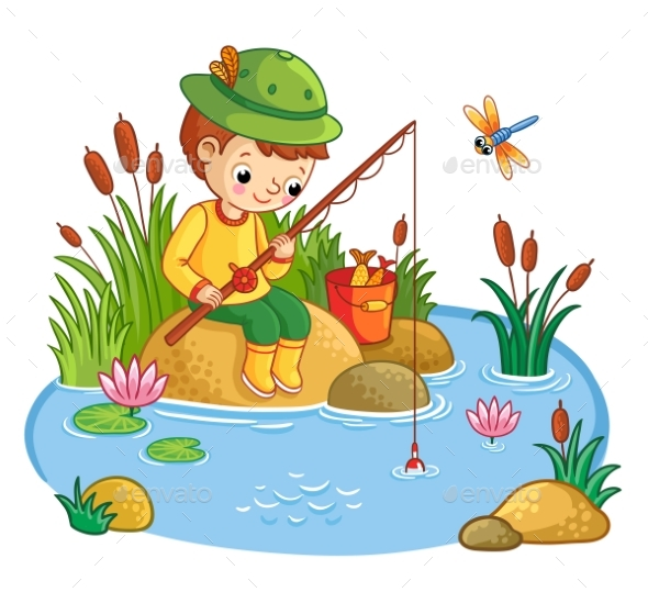 The Boy Sits and Catches Fish in a Pond - People Characters