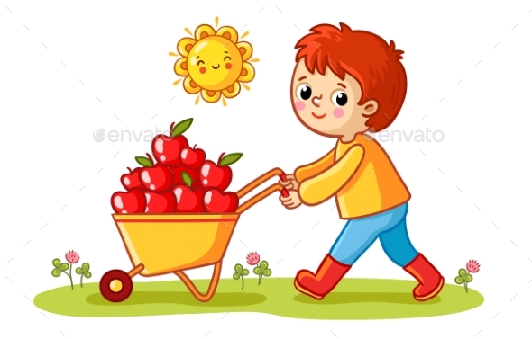 The Boy Rolls a Wheelbarrow with Apples - Flowers & Plants Nature