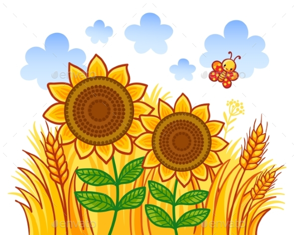 Couple of Sunflowers on a Background of Wheat - Flowers & Plants Nature