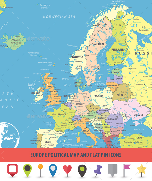 GraphicRiver Europe Political Map and Flat Pin Icons 20686246