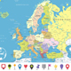 Europe Political Map and Flat Pin Icons