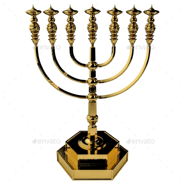 Candle Menorah 3D Render - Objects 3D Renders
