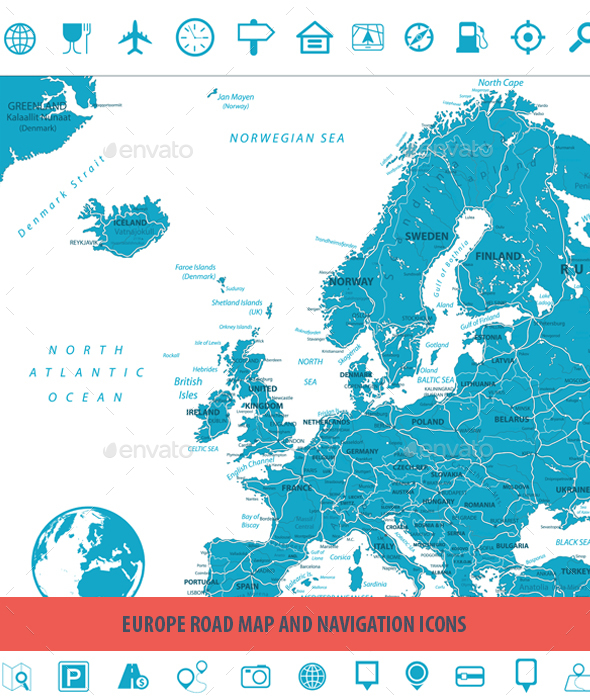 Europe Road Map and Navigation Icons - Travel Conceptual