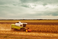 Corn maize harvest, aerial view of combine harvester - PhotoDune Item for Sale