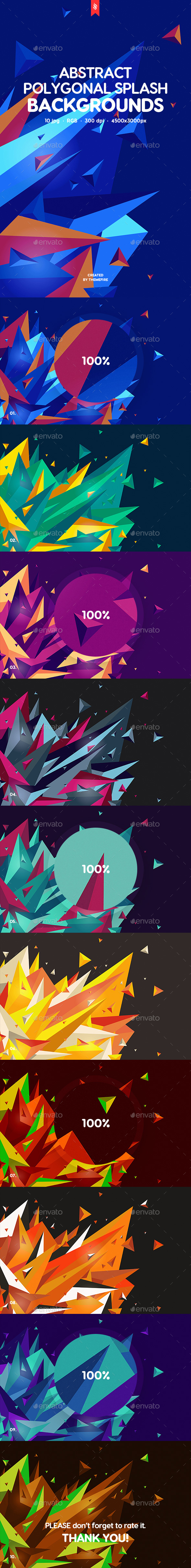 Polygonal Splash Backgrounds - Abstract Backgrounds
