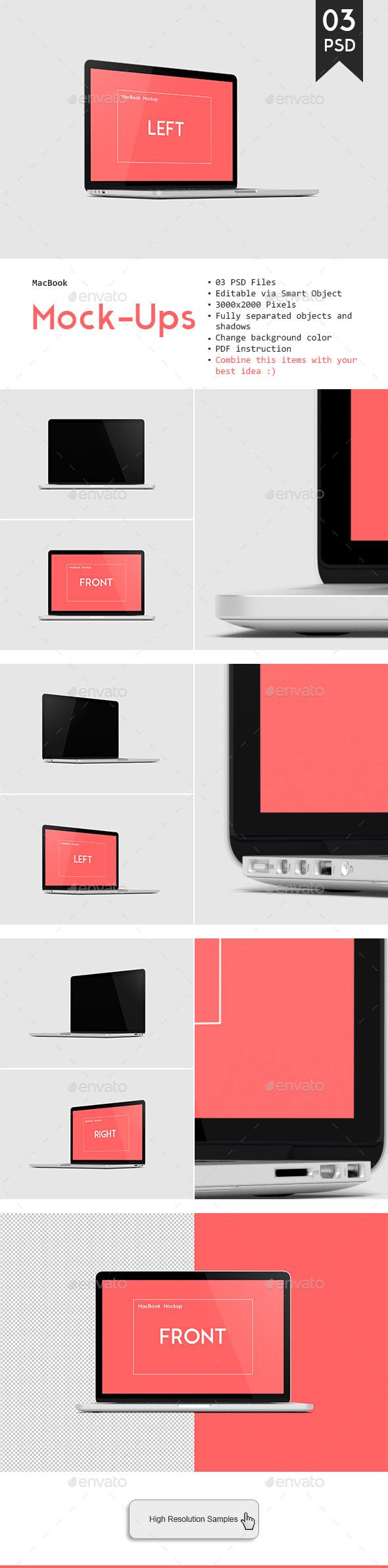 MacBook Pro Retina Mockup - Laptop Displays