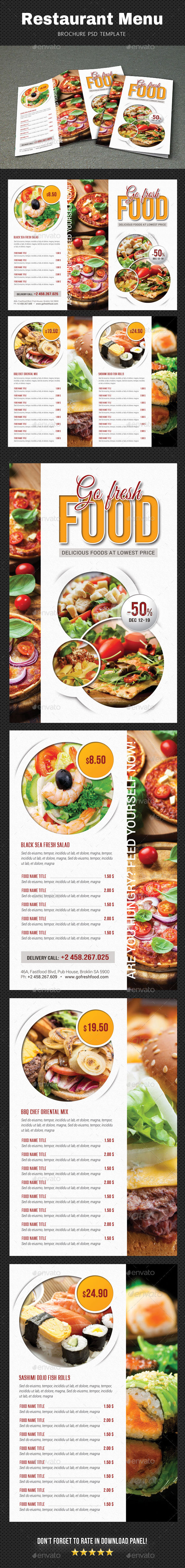 Restaurant Menu Brochure - Food Menus Print Templates