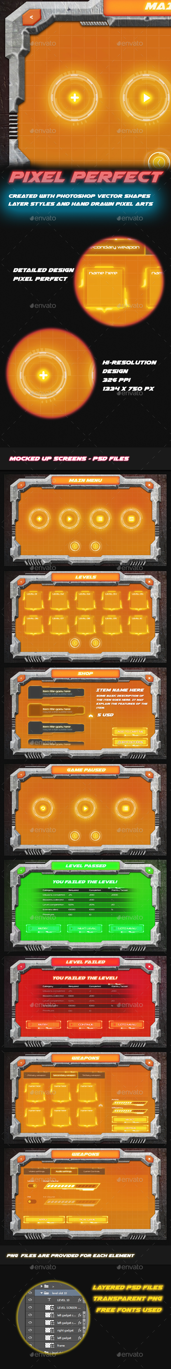 GraphicRiver Concrete 2 Realistic and Sci-Fi Game UI 20686510
