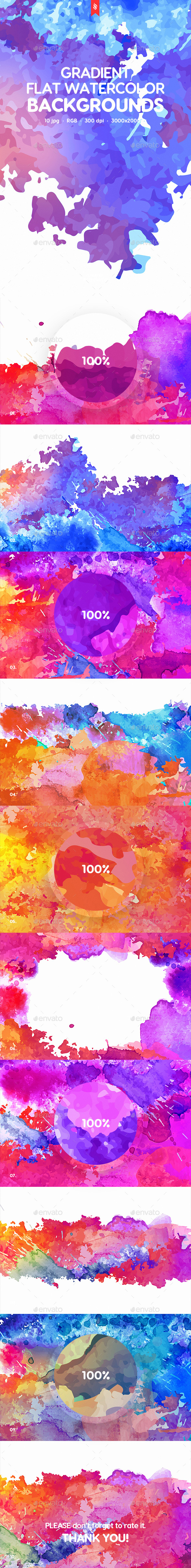 Flat Gradient Watercolor Backgrounds - Abstract Backgrounds
