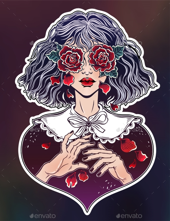 GraphicRiver Girl with Eyes as Roses Crying Rose Petal Tears 20686821