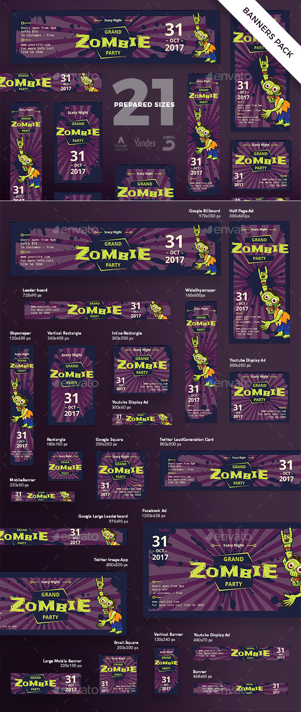 Grand Zombie Party Banner Pack - Banners & Ads Web Elements