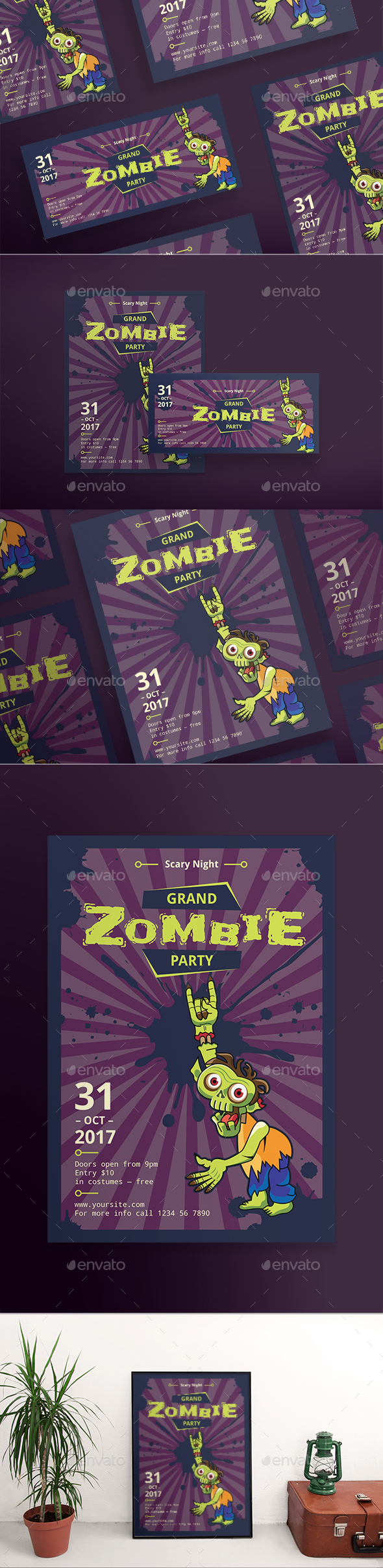 Grand Zombie Party Flyers - Clubs & Parties Events