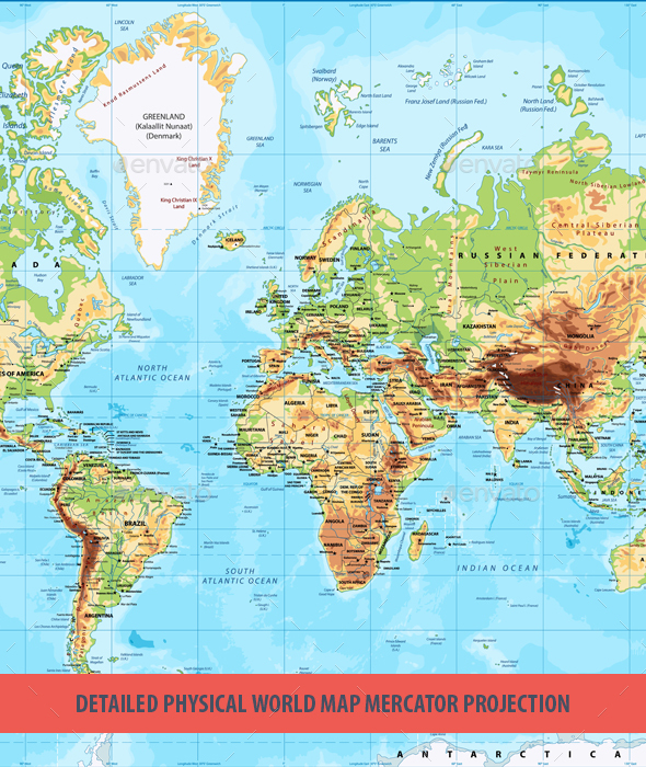 Detailed physical world map mercator projection by cartarium detailed physical world map mercator projection travel conceptual gumiabroncs Choice Image