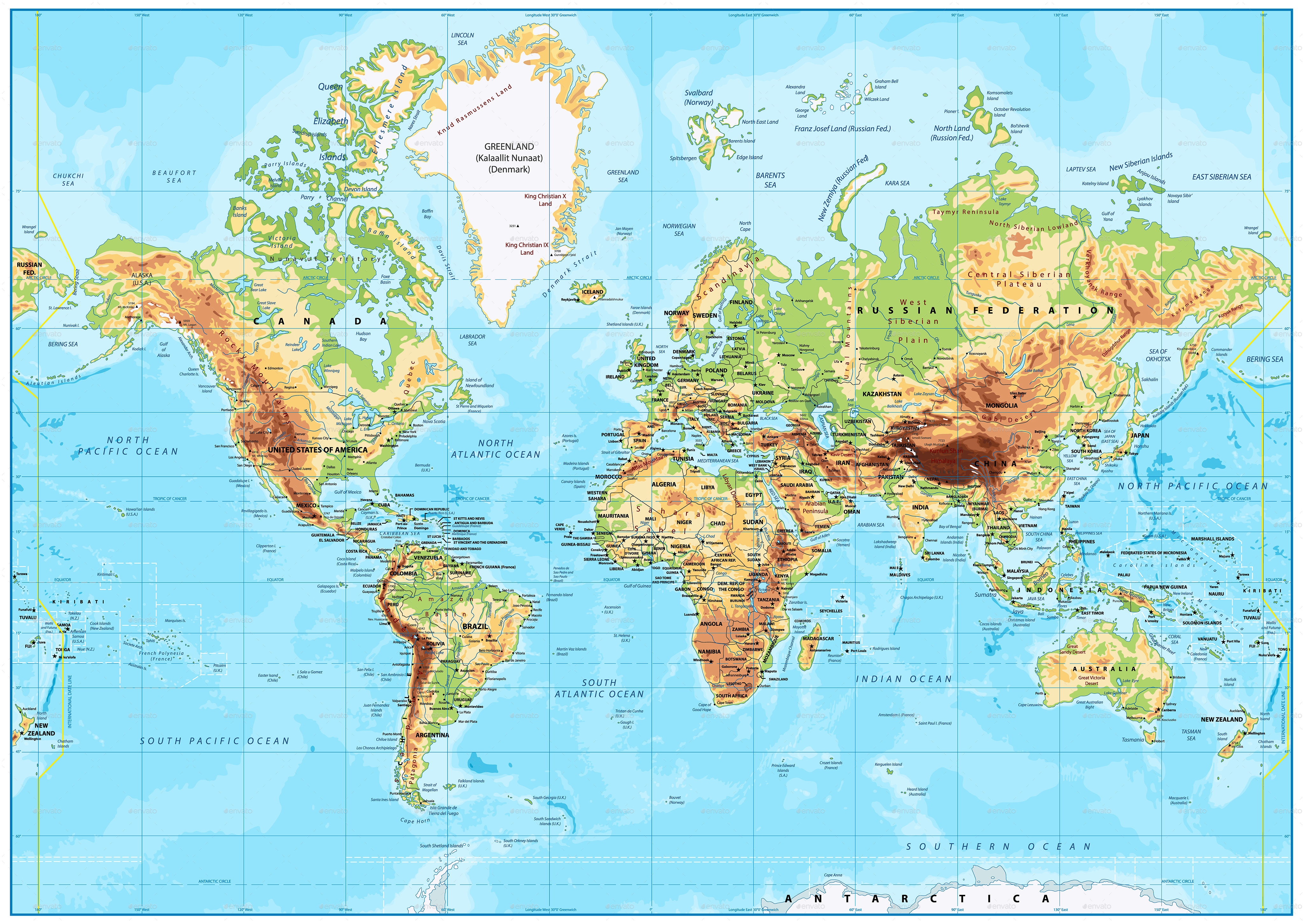 Detailed Physical World Map Mercator Projection by Cartarium