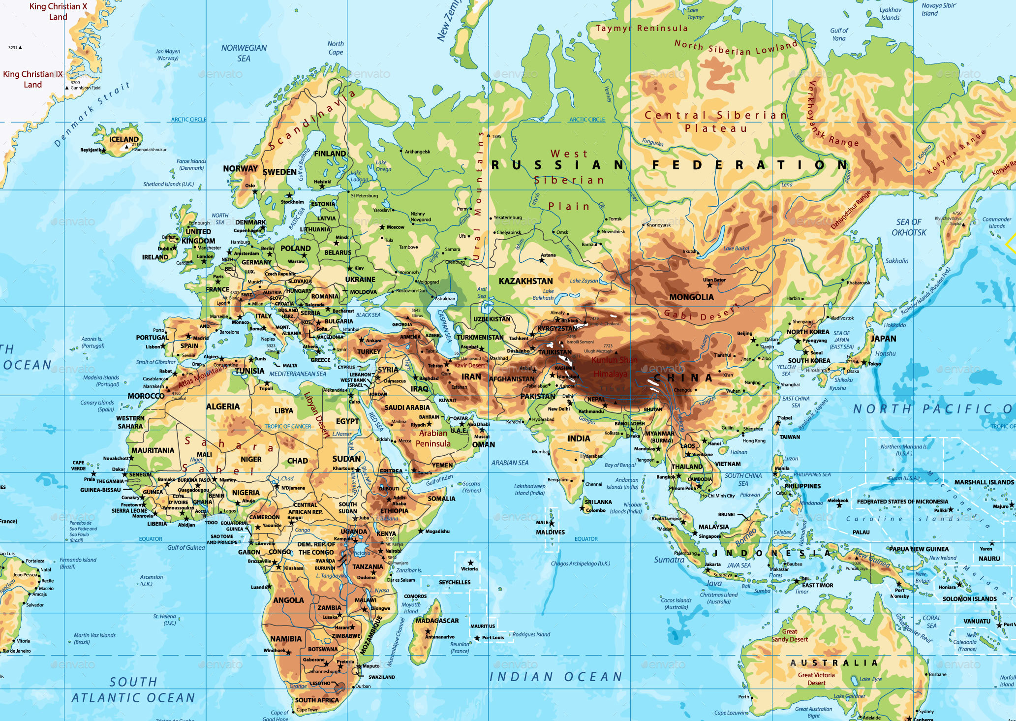 Detailed Physical World Map Mercator Projection