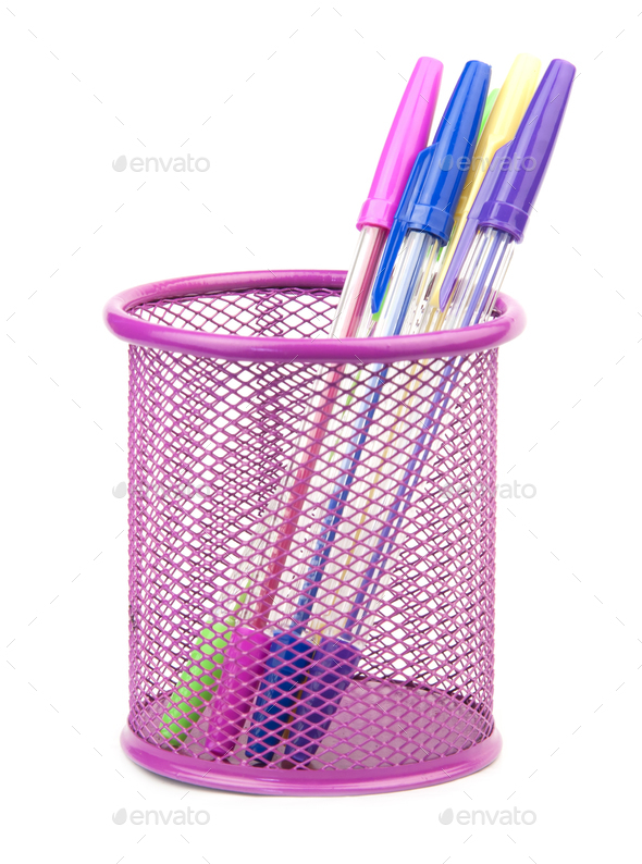 pens in metal pot - Stock Photo - Images