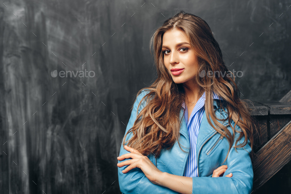 girl with long wavy hair - Stock Photo - Images