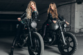 Bikers women in leather jackets with motorcycles - PhotoDune Item for Sale