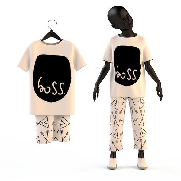 Child Baby girl T-shirt and pants - 3DOcean Item for Sale