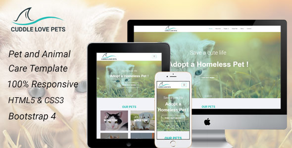Excellent Cuddle Love Pet - A Complete Pet Shop, Job Directory HTML5 Template.