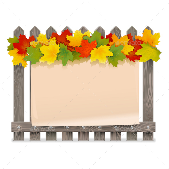 GraphicRiver Vector Wooden Fence with Maple Leaves 20687175