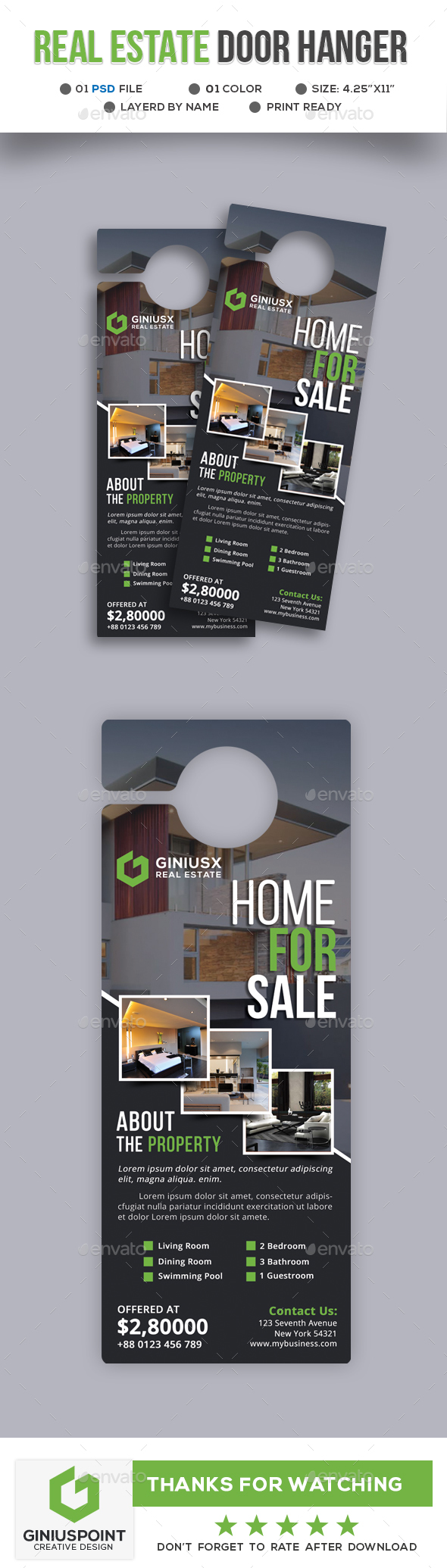 Real Estate Door Hanger - Miscellaneous Print Templates